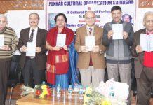 Advisor to Lt Governor, K.K. Sharma releasing Sunanda Nehru's book at Jammu on Thursday. —Excelsior/Rakesh