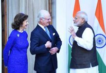 King Carl XVI Gustaf and Queen Silvia of Sweden being received by Prime Minister Narendra Modi for a meeting at Hyderabad House, in New Delhi on Monday. (UNI)