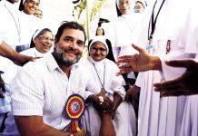Congress leader Rahul Gandhi meeting various delegation at Guest House at Kalpetta in Wayanad on Saturday. (UNI)
