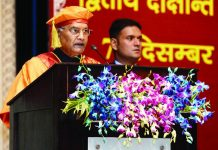 President Ram Nath Kovind addressing the 2nd Convocation of AIIMS, Jodhpur, in Jodhpur on Saturday. (UNI)