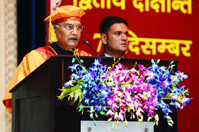 President Ram Nath Kovind addressing the 2nd Convocation of AIIMS, Jodhpur, in Jodhpur on Saturday. (UNI)