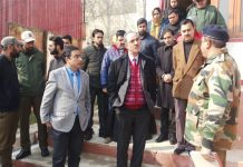 Justice Ali Mohammad Magray during visit to Kupwara on Thursday.