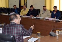 Commissioner Secretary PHE chairing a meeting in Jammu on Thursday.