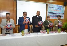 SMVDU Vice-Chancellor and others releasing souvenir during inaugural of a conference on Friday.