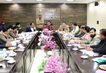 JMC Mayor chairing a meeting of officers at Jammu on Wednesday.