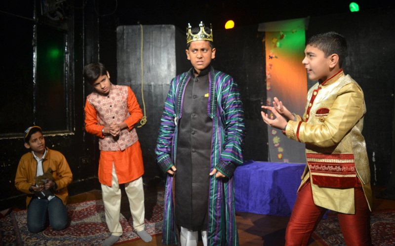 A scene from the play 'Jambu Nagri' staged by Natrang at Jammu on Sunday.
