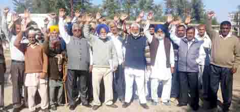 Farmers protesting at Ramgarh on Monday.