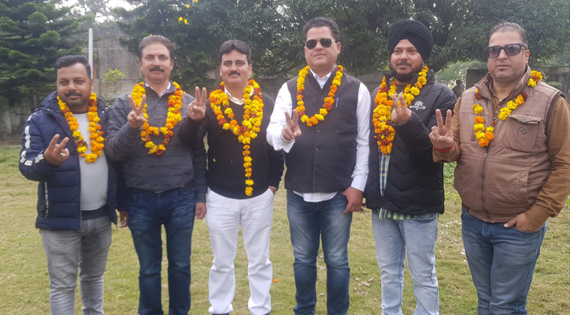 Newly elected members of Press Club Kathua. -Excelsior/ Madan Magotra