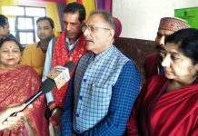 Former Deputy CM, Kavinder Gupta talking to reporters at Bahu Fort, Jammu on Wednesday.