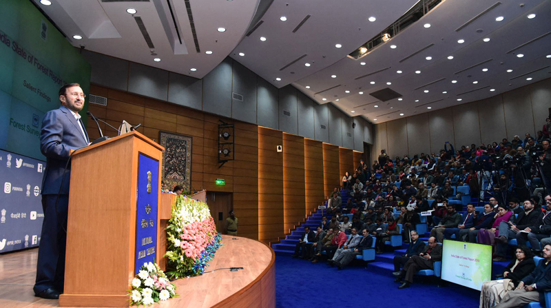Union Minister for Environment, Forest & Climate Change, Information & Broadcasting and Heavy Industries and Public Enterprise, Prakash Javadekar addressing at the release of the India State of Forest Report 2019, in New Delhi on Monday.
