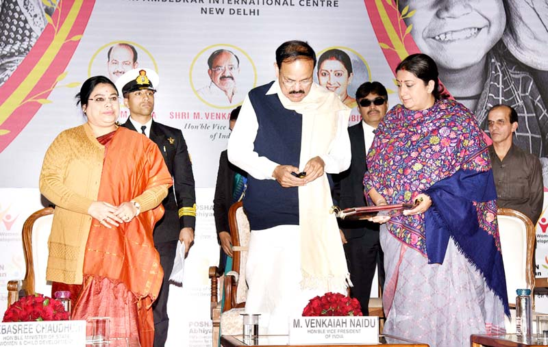 Vice President, M. Venkaiah Naidu launching the POSHAN Anthem at an event organised by the Ministry of Women and Child Development, in New Delhi on Tuesday. Union Minister for Women & Child Development and Textiles, Smriti Irani, and the Minister of State for Women and Child Development, Sushri Debasree Chaudhuri are also seen.