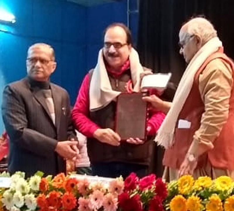 Well known scholar from J&K, Dr Agnishekhar being conferred Sauhaard Samman by Speaker, UP Assembly, Dr Hriday Narayan Dikshit at Lucknow on Monday.