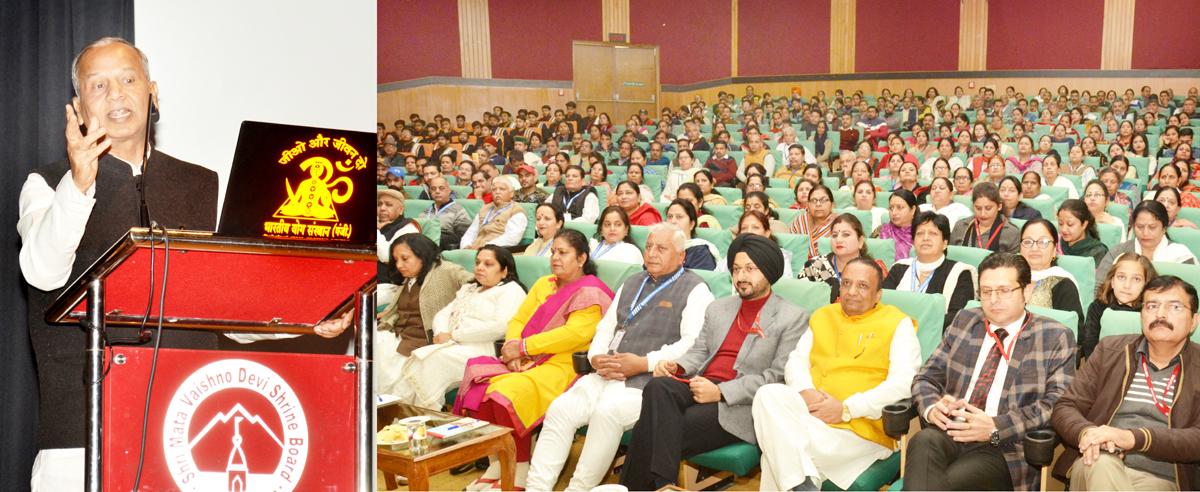 Des Raj, National General Secretary, Bharatiya Yog Sansthan addressing workshop on stress management at Katra on Monday.