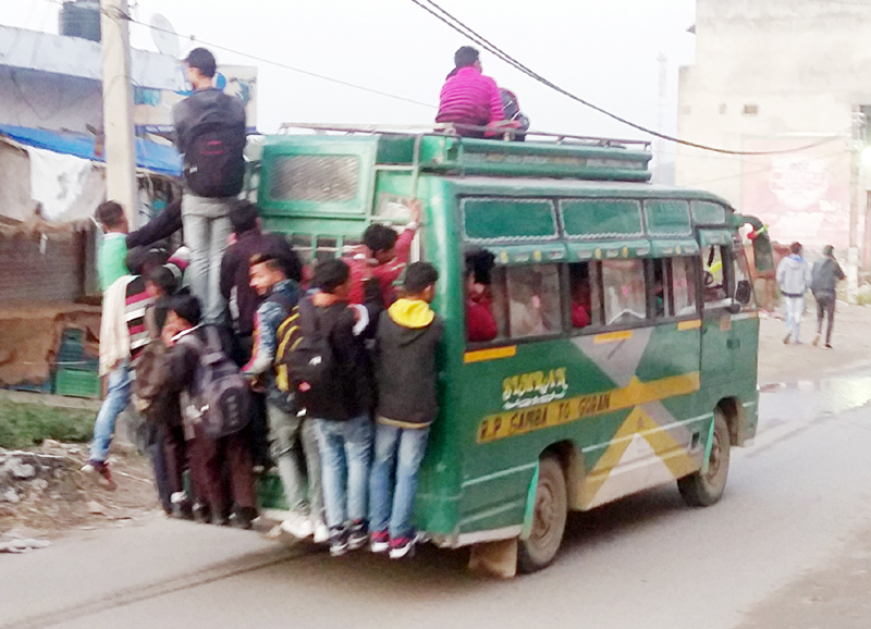 An over loaded mini bus on a Samba route on Saturday.