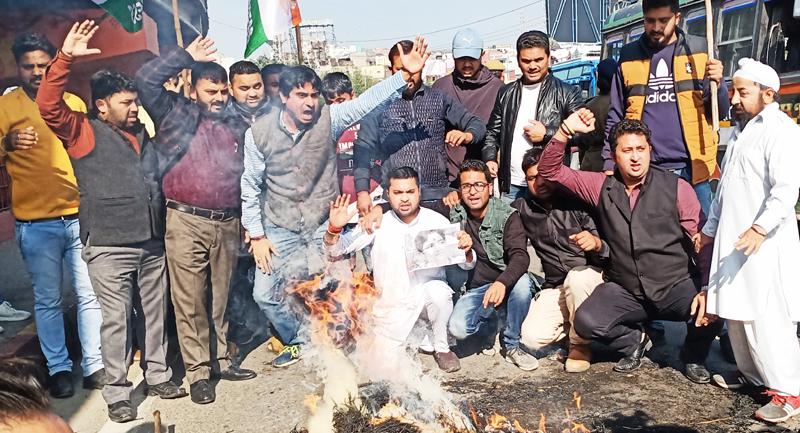 PYC activists staging protest against BJP MP Pragya Thakur in Jammu on Saturday. -Excelsior/Rakesh