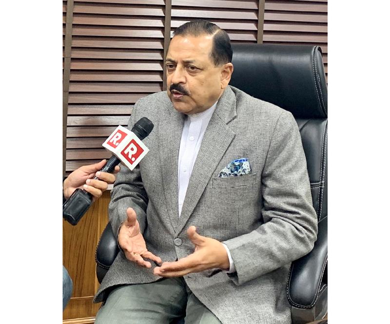 Union Minister Dr Jitendra Singh speaking to media at New Delhi on Saturday.