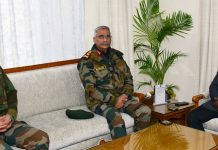 Army chief Gen Manoj Mukund Naravane and Northern Command chief Lt Gen Ranbir Singh in a meeting with Lieutenant Governor Girish Chandra Murmu in Jammu on Thursday.