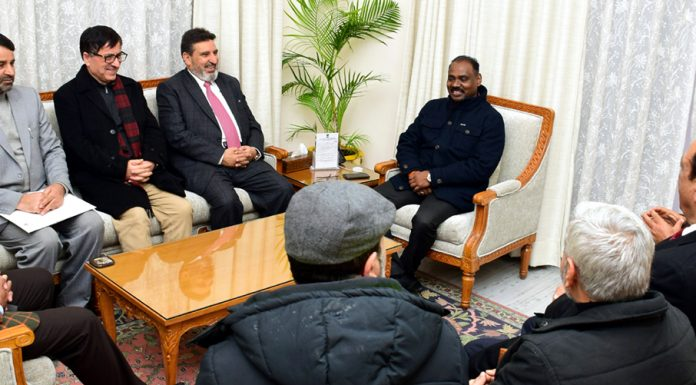 Political leaders in a meeting with Lieutenant Governor Girish Chandra Murmu in Jammu on Tuesday.