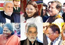 Ten Union Ministers during their visit to different places in Jammu region on Thursday.