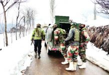 Security personnel during search operation at Khrew on Wednesday. -Exceslior/Younis Khaliq
