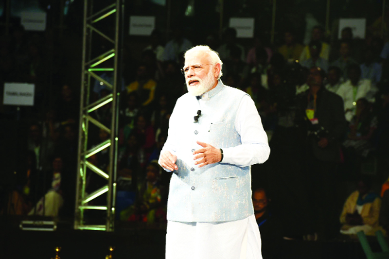 Prime Minister, Narendra Modi interacting with the students, teachers and parents during the 'Pariksha Pe Charcha 2020', in New Delhi on Monday.