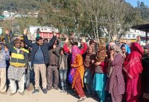 Jakhani residents protesting against NHAI on Thursday.