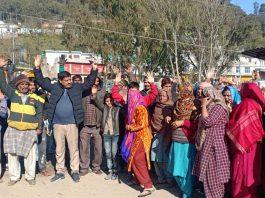 Jakhani residents protesting against NHAI on Thursday.