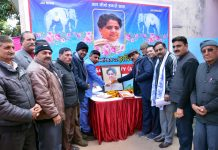 Leaders and workers of BSP celebrating birthday of Mayawati in Jammu.