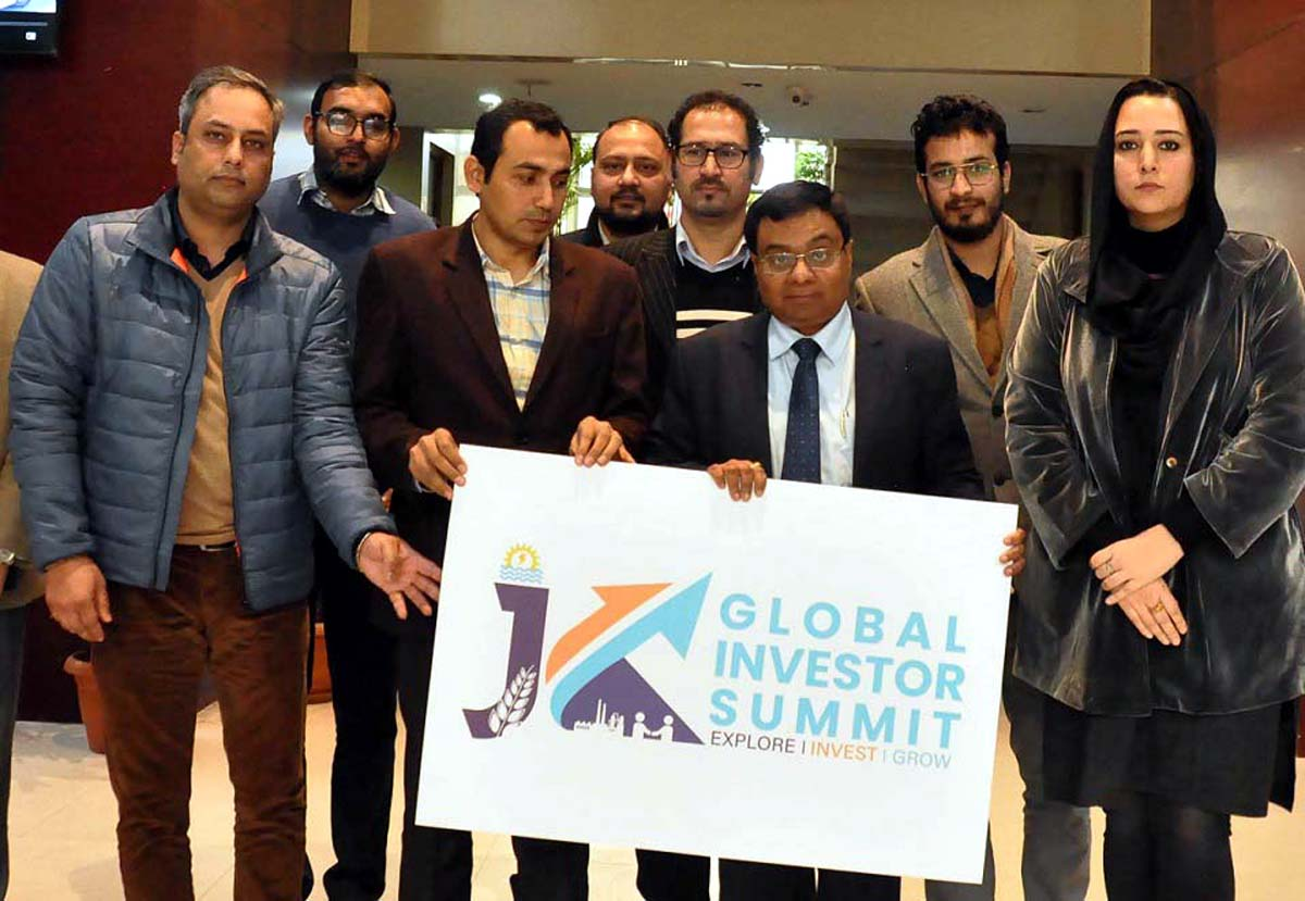 Commissioner Secretary, Industries and Commerce, Manoj Kumar Dwivedi unveiling logo of first ever JK Global Investor Summit on Tuesday.