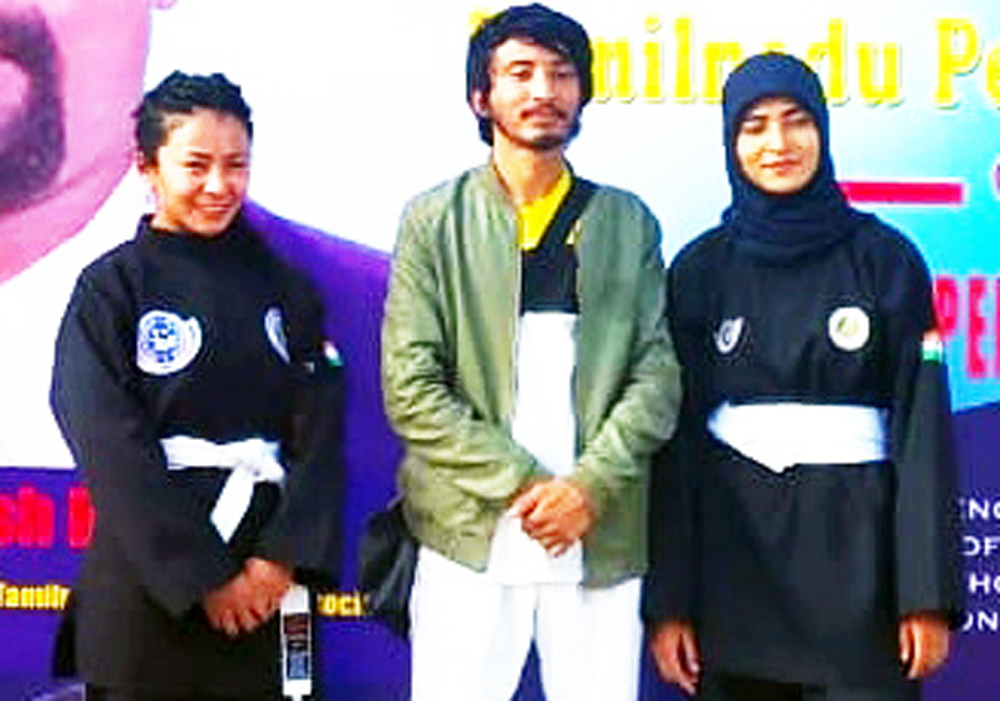 Medal winners of UT Ladakh posing for photograph after excelling in National Pencak Silat Championship. –Excelsior/Basharat Ladakhi