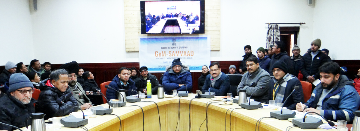 Advisor to Lt Governor, Ladakh Umang Narula chairing a meeting in Leh on Tuesday.