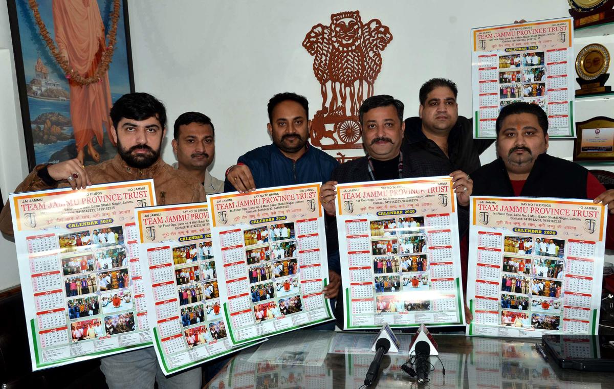 Team Jammu members releasing Calendar-2020 at Jammu on Wednesday.
