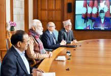 Prime Minister, Narendra Modi and the Prime Minister of Nepal, K.P. Sharma Oli jointly inaugurate the Integrated Check Post, at Jogbani-Biratnagar through video conference, in New Delhi on Tuesday.