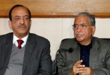 Former Ministers Dilawar Mir & G H Mir addressing a joint press conference at Jammu on Thursday. — Excelsior/Rakesh