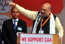 Union Home Minister Amit Shah addressing a rally in support of CAA in Lucknow on Tuesday. (UNI)