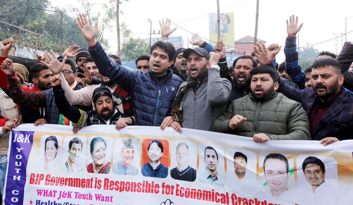 Youth Congress activists staging protest in Jammu on Wednesday. —Excelsior/Rakesh