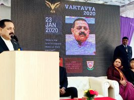 Union Minister Dr Jitendra Singh, as chief guest, addressing the Student Parliament of reputed Hindu College, at New Delhi on Thursday.