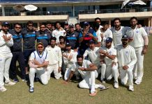 J&K Ranji Tophy team posing for a group photograph alongwith support staff at ISCA Stadium Ranchi in Jharkhand.