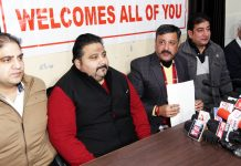Team Jammu Chairman Zorawar Jamwal addressing a press conference at Jammu on Thursday.— Excelsior/Rakesh