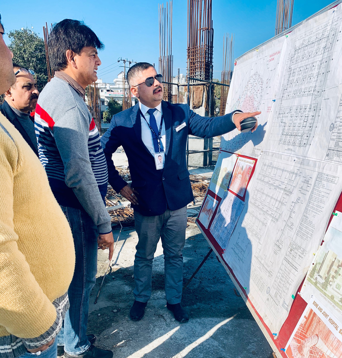 Administrator GMC and Associated Hospitals Jammu, Amit Sharma reviewing progress on construction work of Bone & Joints Hospital in the premises of CD Hospital, Jammu.