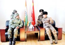 India and China Army officers during a meeting.