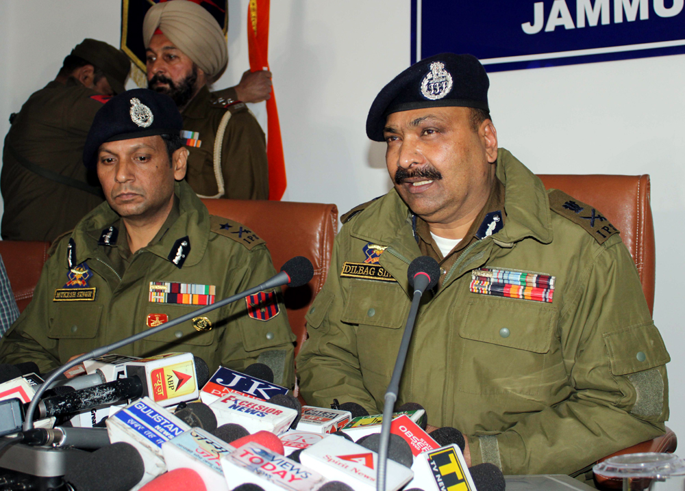 DGP Dilbag Singh addressing a press conference in Jammu on Wednesday. —Excelsior/Rakesh