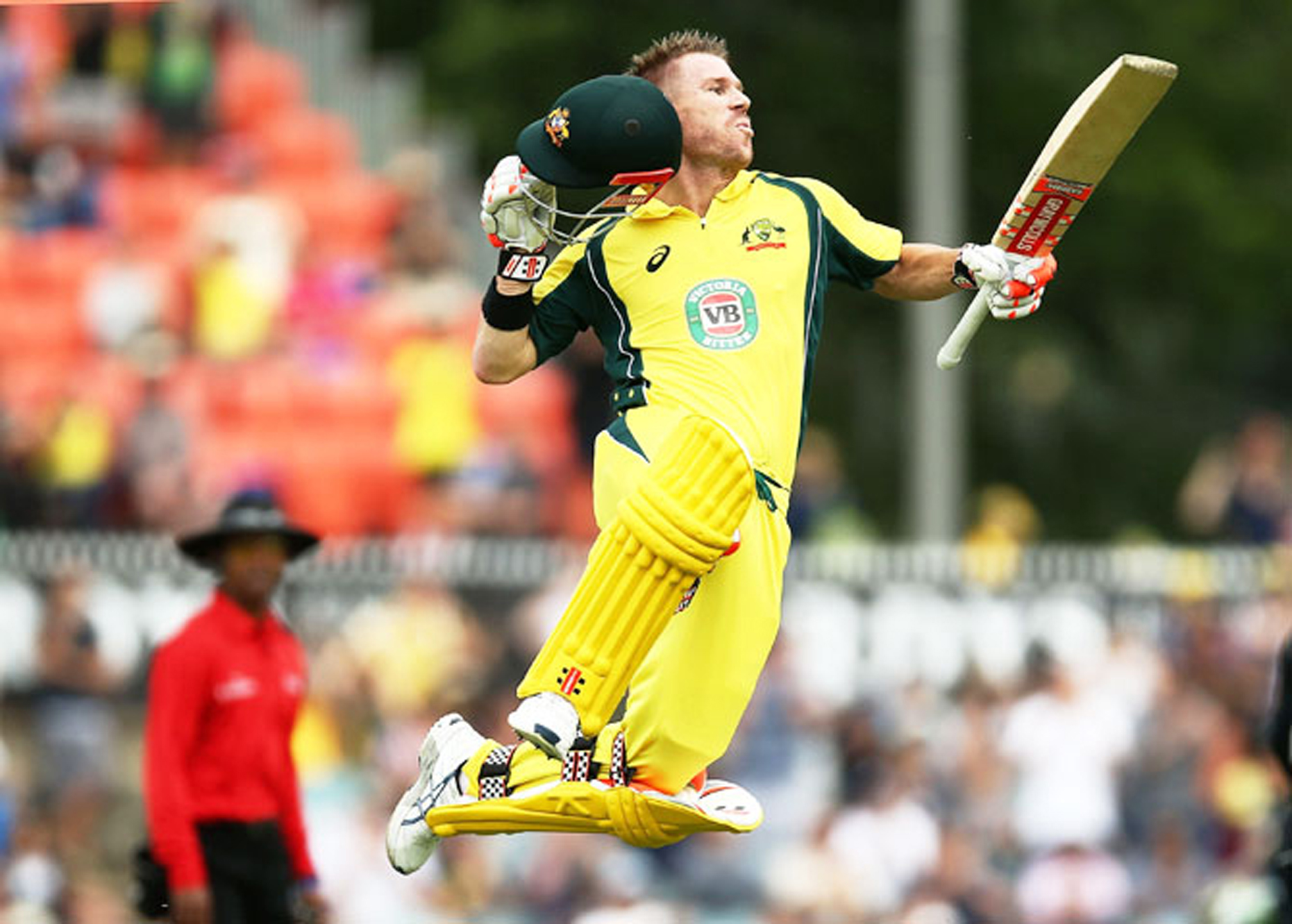 David Warner celebrating century during Australias big win over India in 1st ODI at Wankhade Stadium in Mumbai.