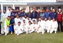 J&K Ranji trophy team posing along with Administrator JKCA, CK Prasad ad CEO, Syed Ashiq Hussain Bukhari at Palam, New Delhi on Tuesday.
