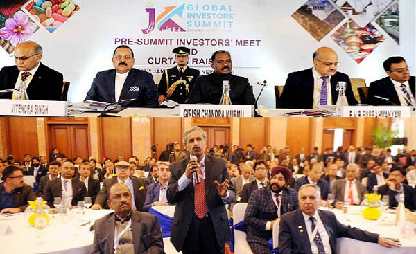 Union MoS in PMO Dr Jitendra Singh and Lieutenant Governor Girish Chandra Murmu at the 'Pre-Summit Investors' Meet' in New Delhi on Monday.