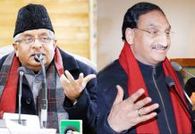Union Ministers Ravi Shankar Prasad and Ramesh Pokhriyal 'Nishank' in Kashmir on Friday.