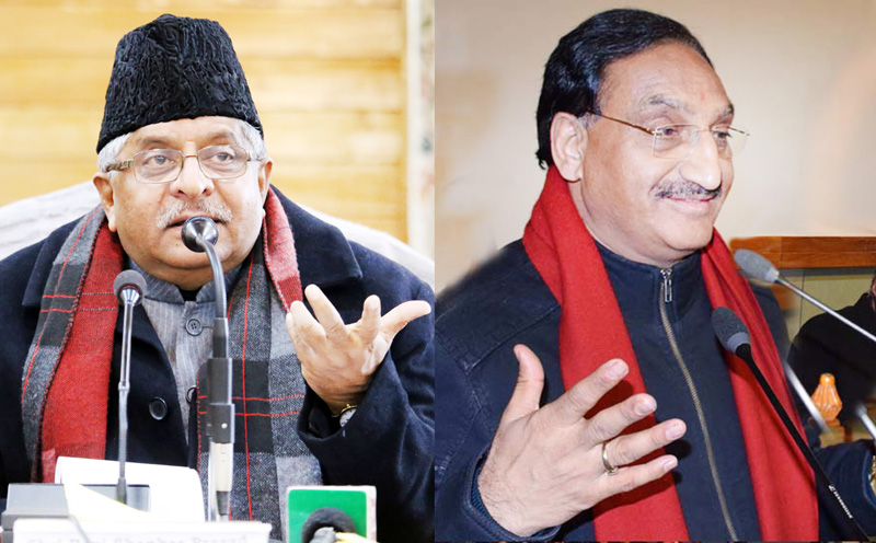 Union Ministers Ravi Shankar Prasad and Ramesh Pokhriyal 'Nishank' in Kashmir on Friday.