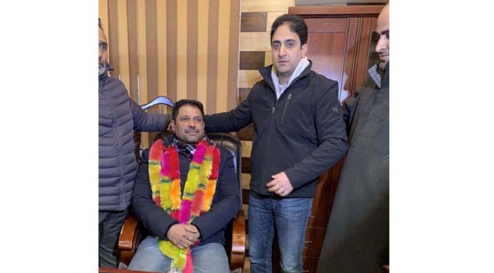 Newly-elected Deputy Mayor of Srinagar Municipal Corporation (SMC) Parvaiz Qadri after his victory in the election on Monday.