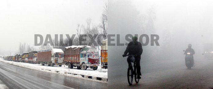 Trucks stranded on National Highway in Kashmir (left) and vehicles move with head-lights on at a Jammu road during dense fog on Tuesday morning (right).