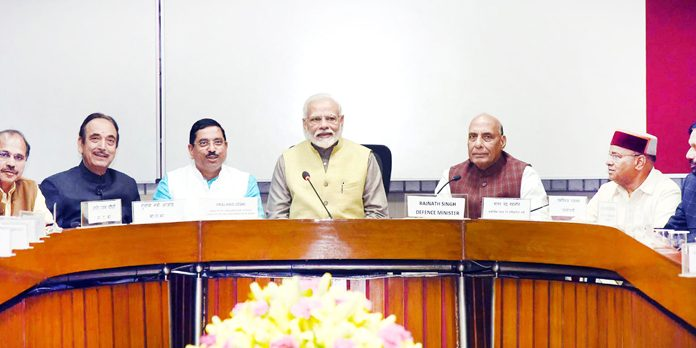 Prime Minister Narendra Modi chairing the All Party Meeting ahead of the budget session of Parliament in New Delhi on Thursday.(UNI)